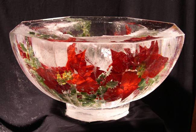 [IMAGE - Ice Bowl w/ embedded Poinsettia]