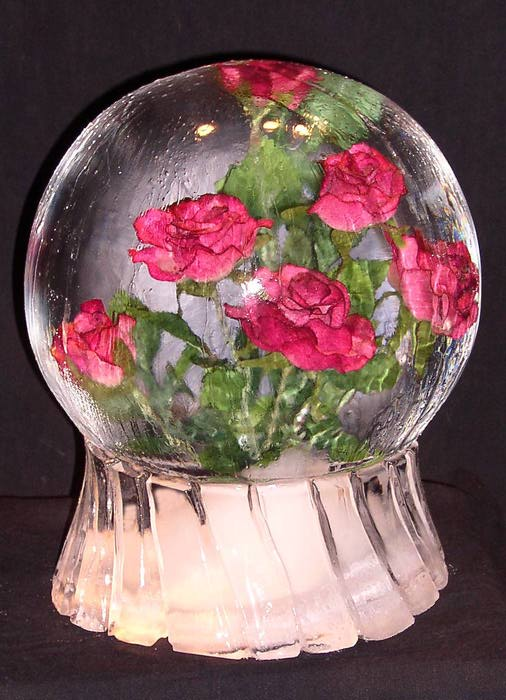 [IMAGE - Roses frozen inside an ice globe]