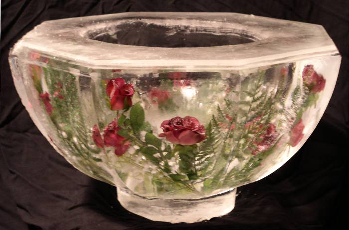 [IMAGE - Ice Bowl with embedded Roses]