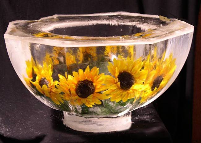 [IMAGE - Ice Bowl with embedded Sunflowers]